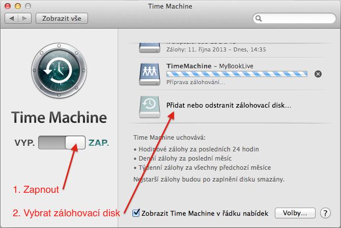 Time Machine zapnout