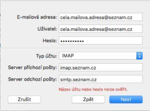 Název účtu nebo heslo nelze ověřit
