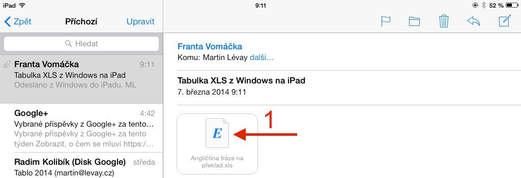 Otevřít přílohu XLS v Mailu jako náhled