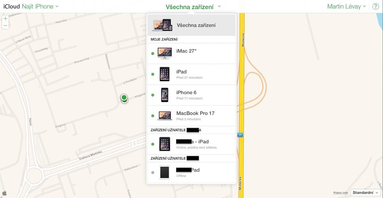iCloud.com seznam zařízení